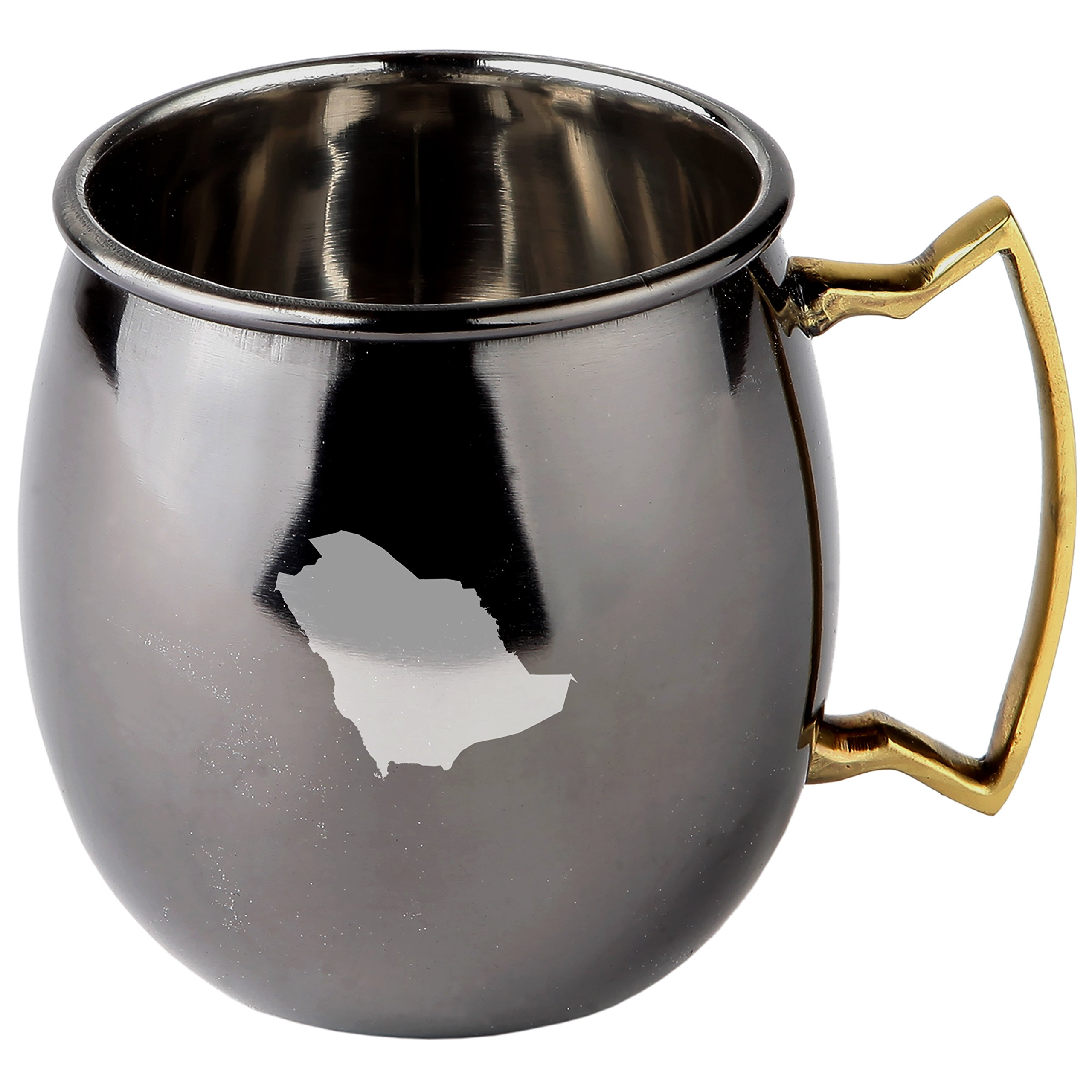 Saudi Arabia Stainless Steel Moscow Mule Mugs With Black Mirror Finish - Copper Plated Cocktail Mug - 16 Oz Moscow Mule Mug Gift