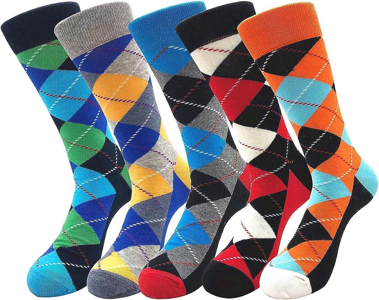 Joeyer Calcetines Para Hombre, 5 Para Colorido Diseño Divertido Hombre Algodon Calcetines Transpirable Cómodo Calcetines Hombre Invierno: Amazon.es: Ropa y accesorios