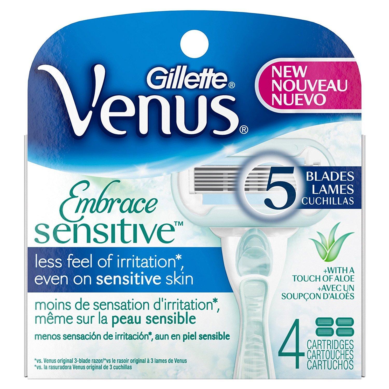 Gilllette Venus Embrace Sensitivity Aloe Touch Women's 5 Blades Razor System - 4 Cartridges