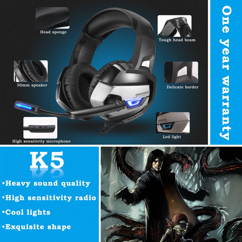 Casque Gaming, Onikuma 3,5 mm Gaming Headset stéréo bandeau Éclairage LED avec micro pour PC Ordinateur Jeu Avec Suppression du bruit le contrôle du volume(Noir)