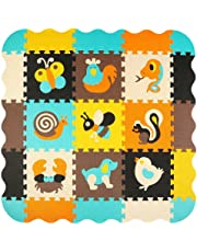 meiqicool Puzzle Play Mat with Fence, Kids Interlocking Foam Playmat Set, Toddler Playroom Soft Floor Tiles, Non-Toxic Baby Crawling Mat for Tummy Time - P010B