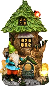 TERESA'S COLLECTIONS 10.2 Inch Gnome House Garden Statues with Solar Lights, Fairy Garden Tree House with Gnomes, Garden Sculptures and Figurines for Christmas Outdoor Patio Lawn Yard Decorations