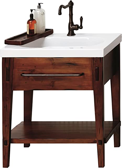 Amazon Com Ronbow Portland 30 Inch Bathroom Vanity Set In Rustic Pine Bathroom Vanity Cabinet Shelf And Drawer White Ashland Bathroom Sink Top With Single Faucet Hole 053930 F19 Kit 1 Kitchen Dining