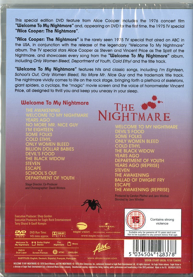 Amazon Welcome To My Nightmare Special Edition DVD Alice Cooper David Winters Jrn Winther Movies TV