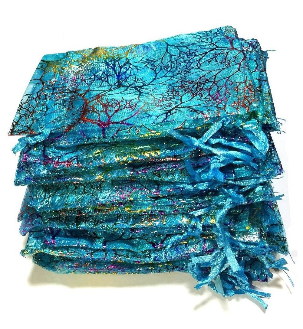 Giveet 100 Pieces Coralline Blue Organza Gift Bags, Drawstring Pouches Jewelry bags, Candy Pouch Chocolate Pouch Party Wedding Favor Gift Bag, 5.9 x 3.9 Inches