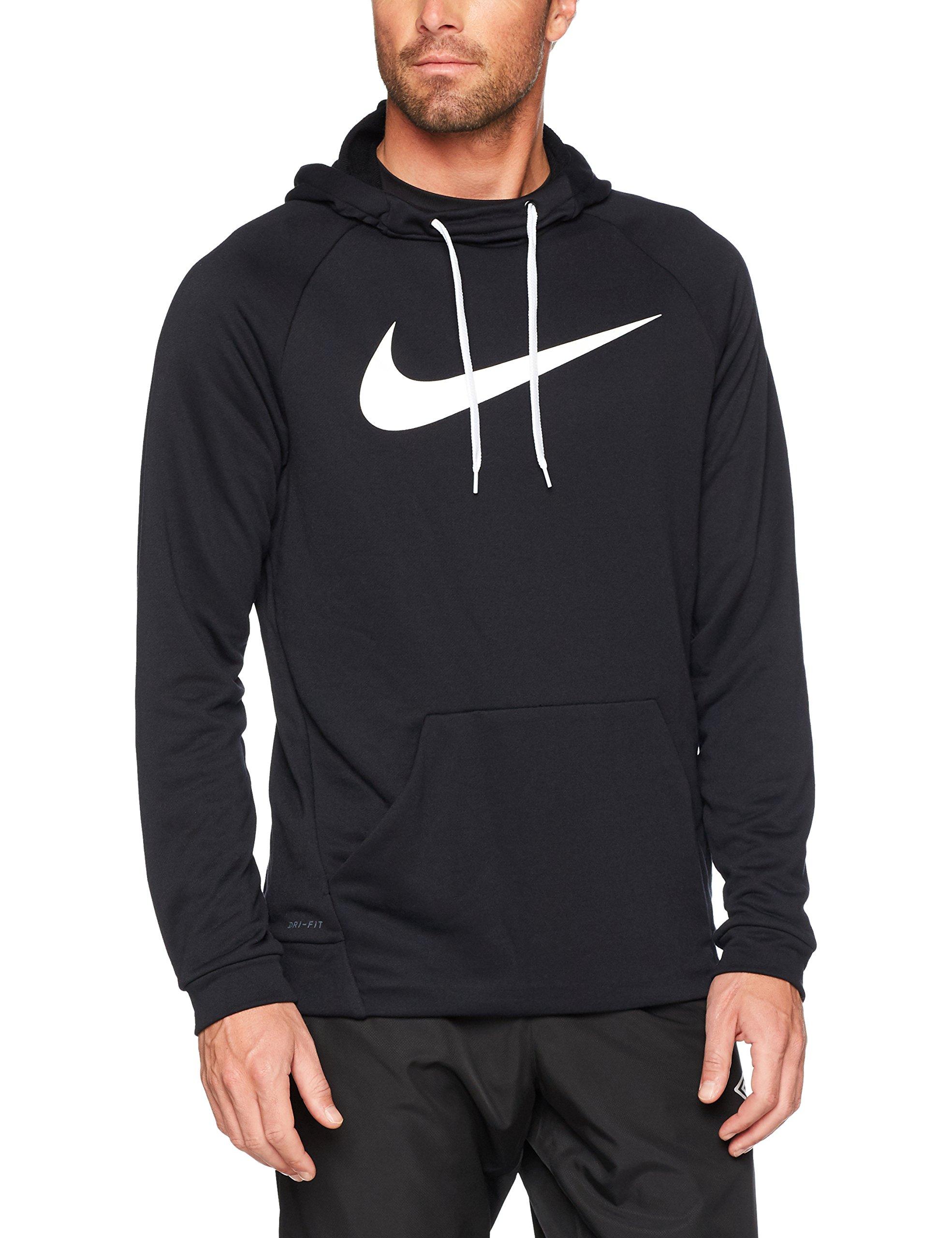 NIKE Men's Dry Pullover Swoosh Hoodie, Black/White, XX-Large