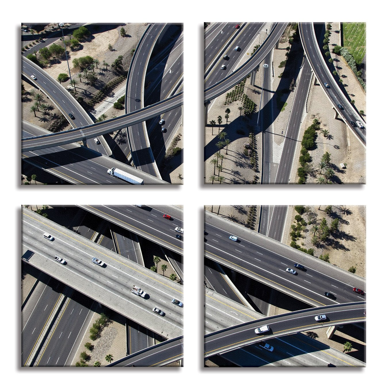 JP London 4 Panels 14in 4 Huge Gallery Wrap Canvas Wall Art Los Angeles Freeway Maze At Overall 28in QDCNV2373 DMCNV0082