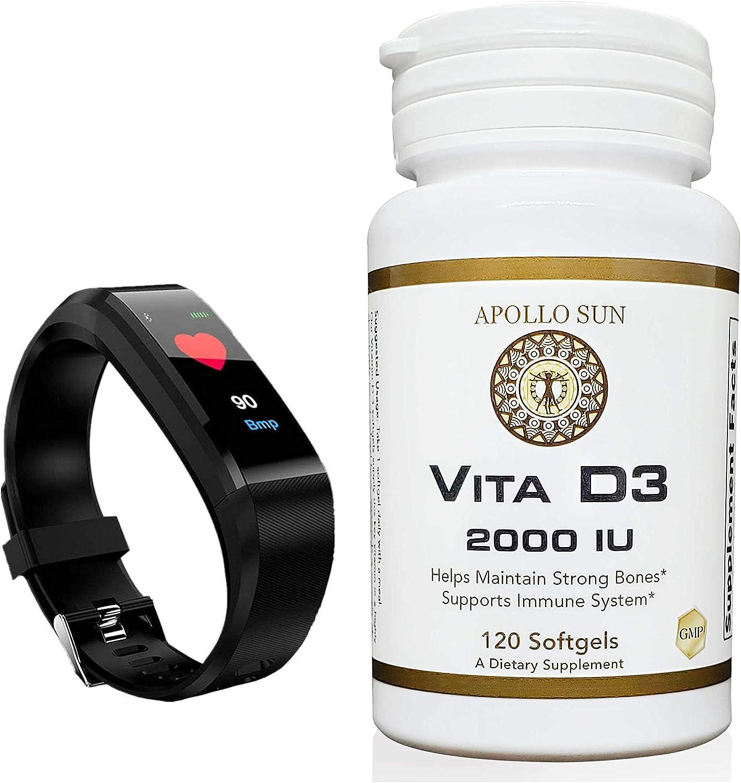 APOLLO SUN Vita D3 2000 IU High Potency Vitamin D3 as Cholecalciferol 50 Micrograms / 2000 IU Dietary Supplement - 120 Softgels (with Smart Fitband Organizer)