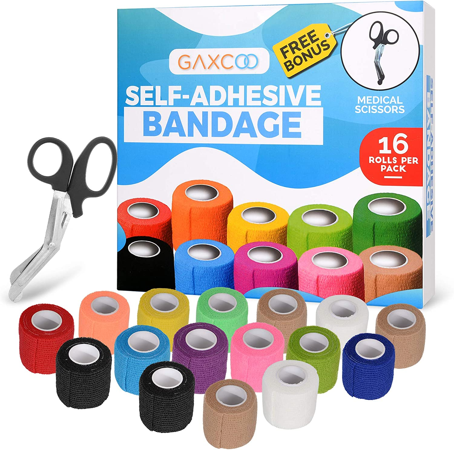 16-Pack Self Adhesive Bandage Flexible 2 x 5 Yards | Self-Adherent Cohesive Tape | Strong Sports Tape for Wrist, Ankle Sprains & Swelling, Pets, Dog Bonus Scissors Included 81VVYv0CcQL