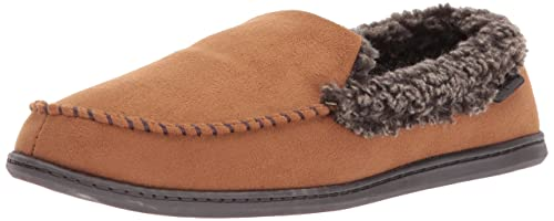 c0fef277f0b Dearfoams Men s Microfiber Suede Closed Back Moccasin Style Slipper –  Padded Slip-Ons with Memory