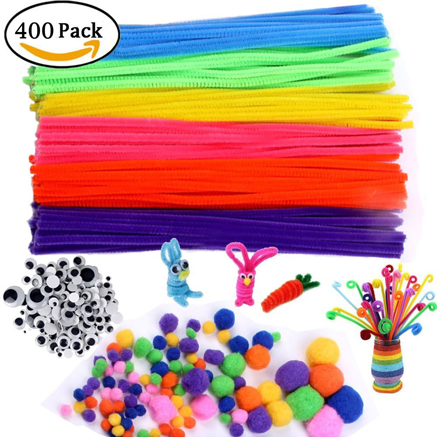 JoyGrowth Chenille Stems/Pipe Cleaners 12 inch x 6mm 190-Piece, 48 Pcs 2 Size Wiggle Googly Eyes and 162Pcs Multi Sized Pompoms for DIY Art Supplies, Total 400Pcs Assorted Colors