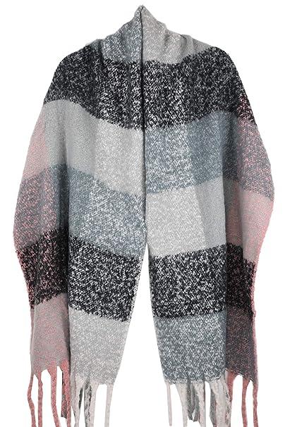 Achillea Women s Oversized Fluffy Plaid Faux-Mohair Shawl Wrap Scarf w Long  Tassels ( abdeedd732
