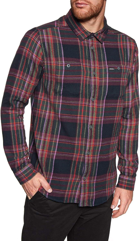 RVCA Ludlow Flannel Ls Shirt Medium Pirate Black