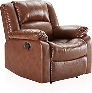 BELLEZE Padded Recliner Chair Faux Leather Overstuffed Armrest and Back, Caramel