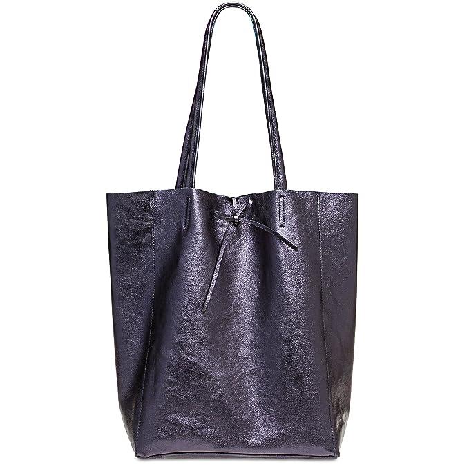 CASPAR TL781 Shopper Grande para Mujer/Bolso de Hombro A4 de Cuero Genuino Metalizado, Color:azul oscuro metalizado;Tamaño:Talla Única: Amazon.es: Ropa y ...