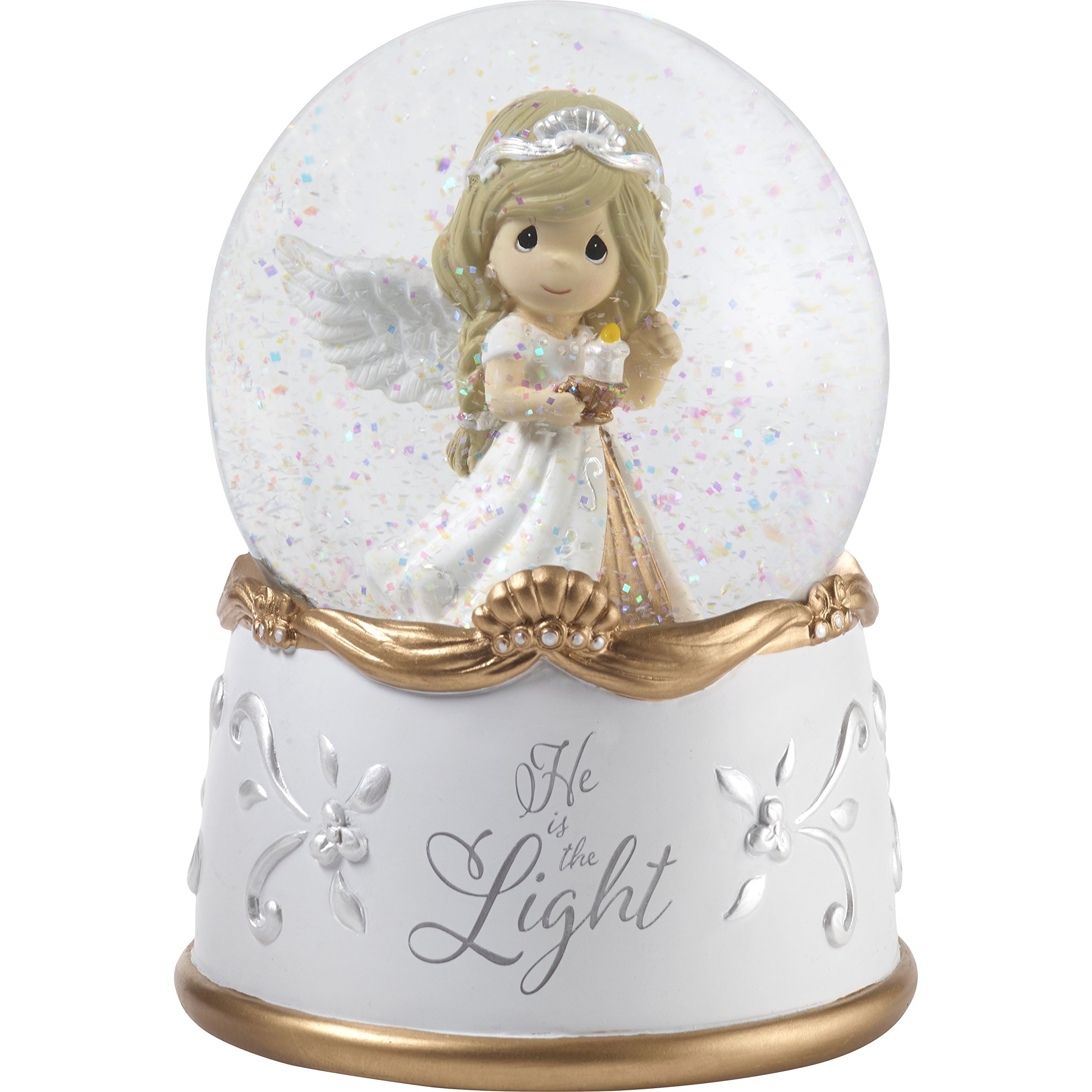 Precious Moments''He Is The Light Angel Resin & Glass Musical Snow Globe, Multicolor