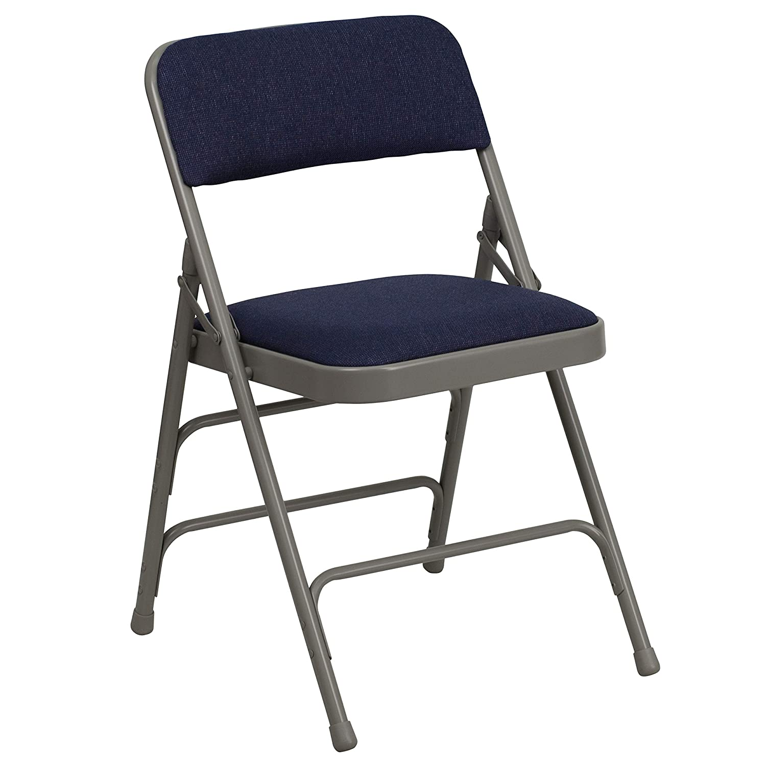 Flash Furniture HERCULES Series Curved Triple Braced Double Hinged Navy Fabric Metal Folding Chair