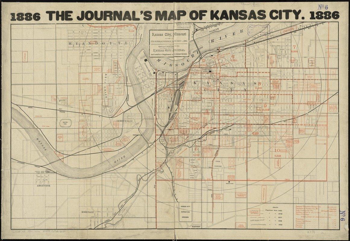 Historic Map | 1886 Kansas City, Missouri and its surroundings | Antique Vintage Reproduction