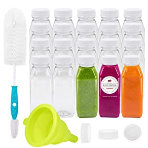 Empty PET Plastic Juice Bottles - Pack of 20 Reusable Clear Disposable Milk Bulk Containers with Funnel and Brush and Tamper Evident Caps (White, 8 oz)