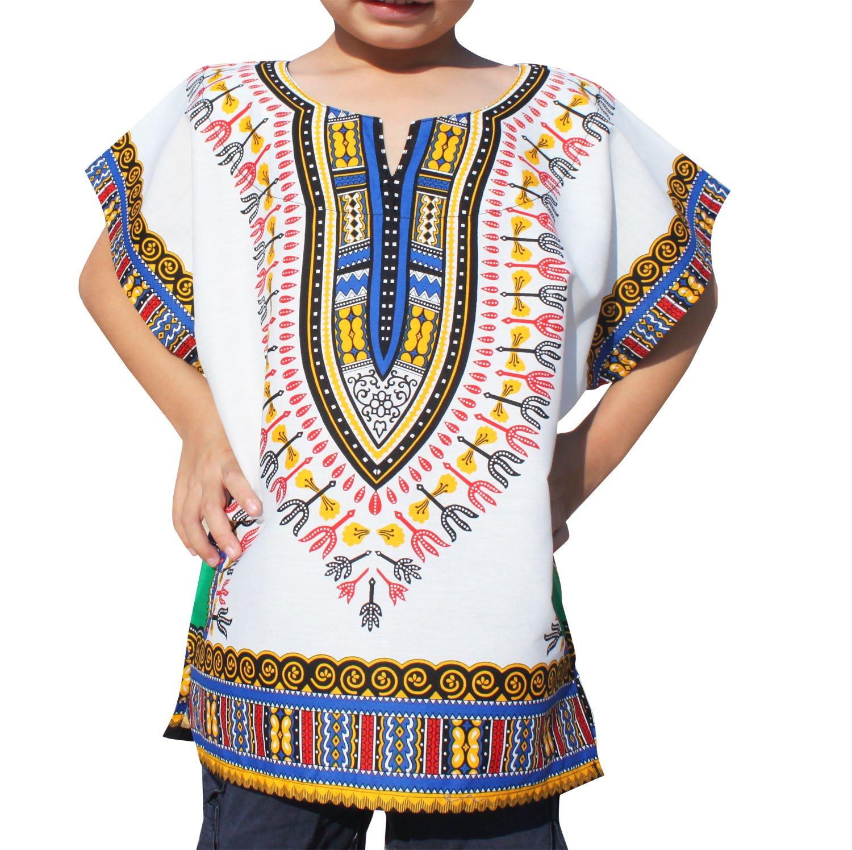 RaanPahMuang Unisex Bright African White Children Dashiki Cotton Shirt, 6-8 Years, White Blue Green
