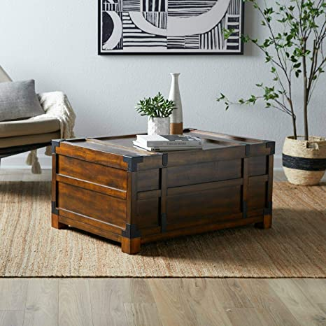 Amazon Com Rectangular Coffee Table Trunk With Storage Rustic Rich Walnut Finish Wood Kitchen Dining