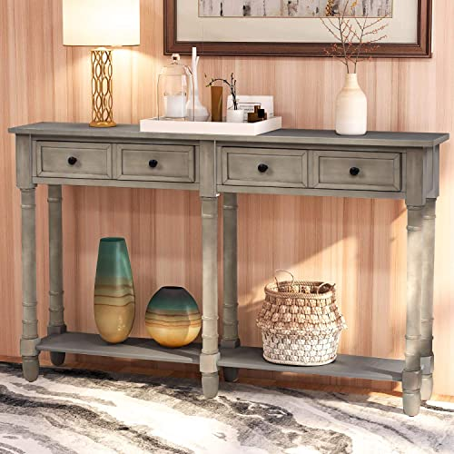 Console Tables for Entryway, WeYoung Console Sofa Table with Two Storage Drawers and Bottom Shelf for Living Room Grey Wash