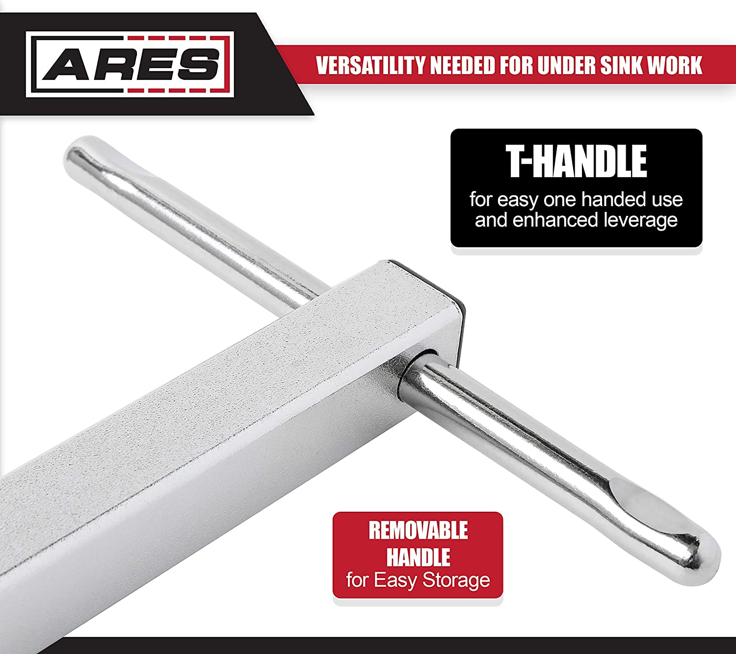 Basin Wrenches Increase Access in Tight Spaces ARES 33004-11-Inch Basin Wrench with Adjustable 3//8-Inch to 1 1//4-Inch Jaw