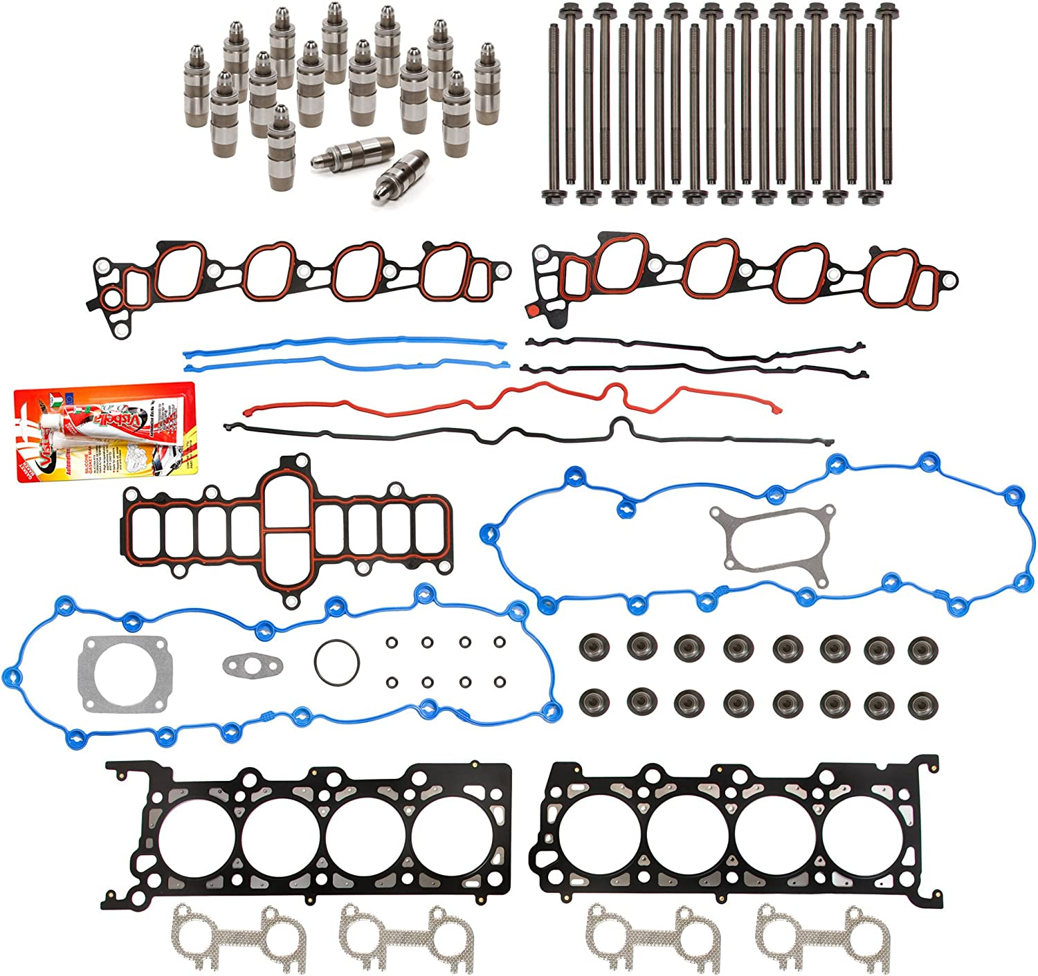 Evergreen HSHBLF8-21203 Lifter Replacement Kit Fits 97-99 Ford E Lifters F Series 4.6 SOHC 16V WINDSOR Head Gasket Set Head Bolts