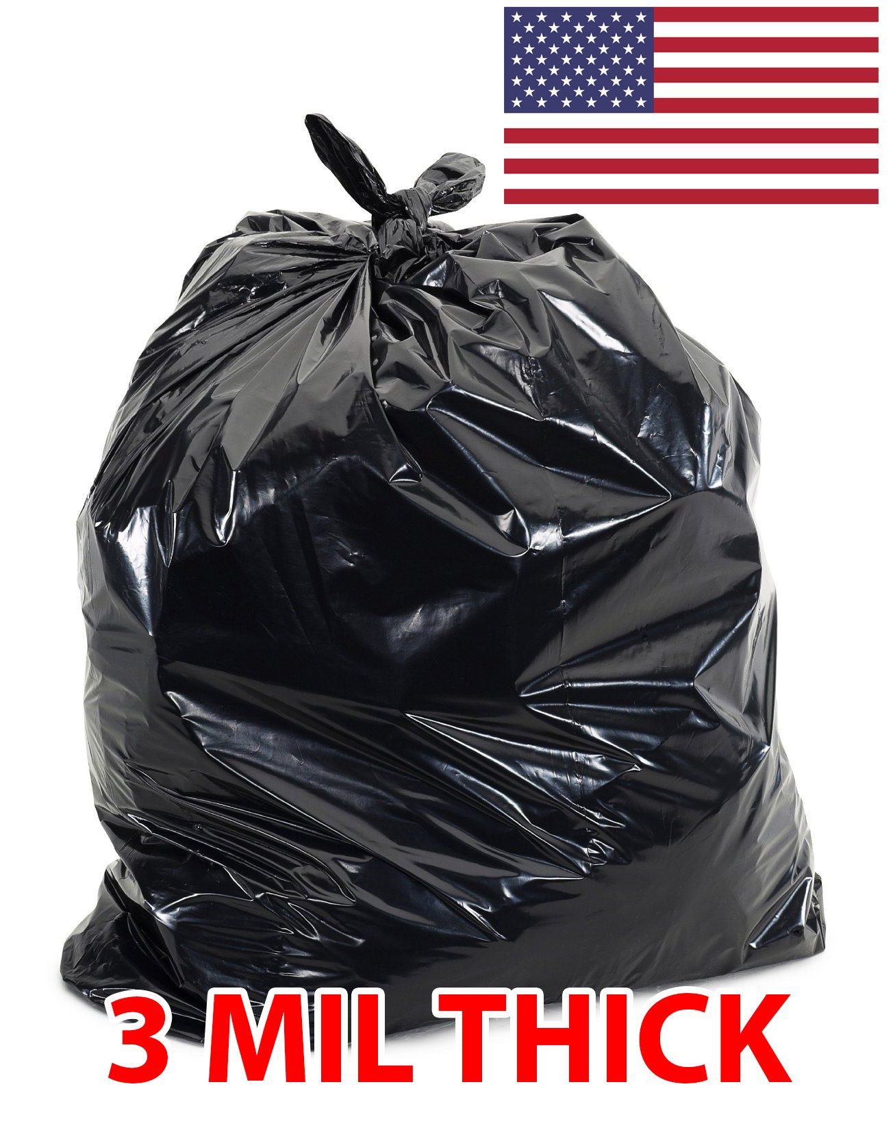 60 Gallon Extra Large Contractor Trash Bags 3 Mil, Durable Heavy Duty, Made in USA, Tough Garbage Bags for Cleanups Drum Liners 3mil (100)-41x55 by Ox Plastics (Image #1)