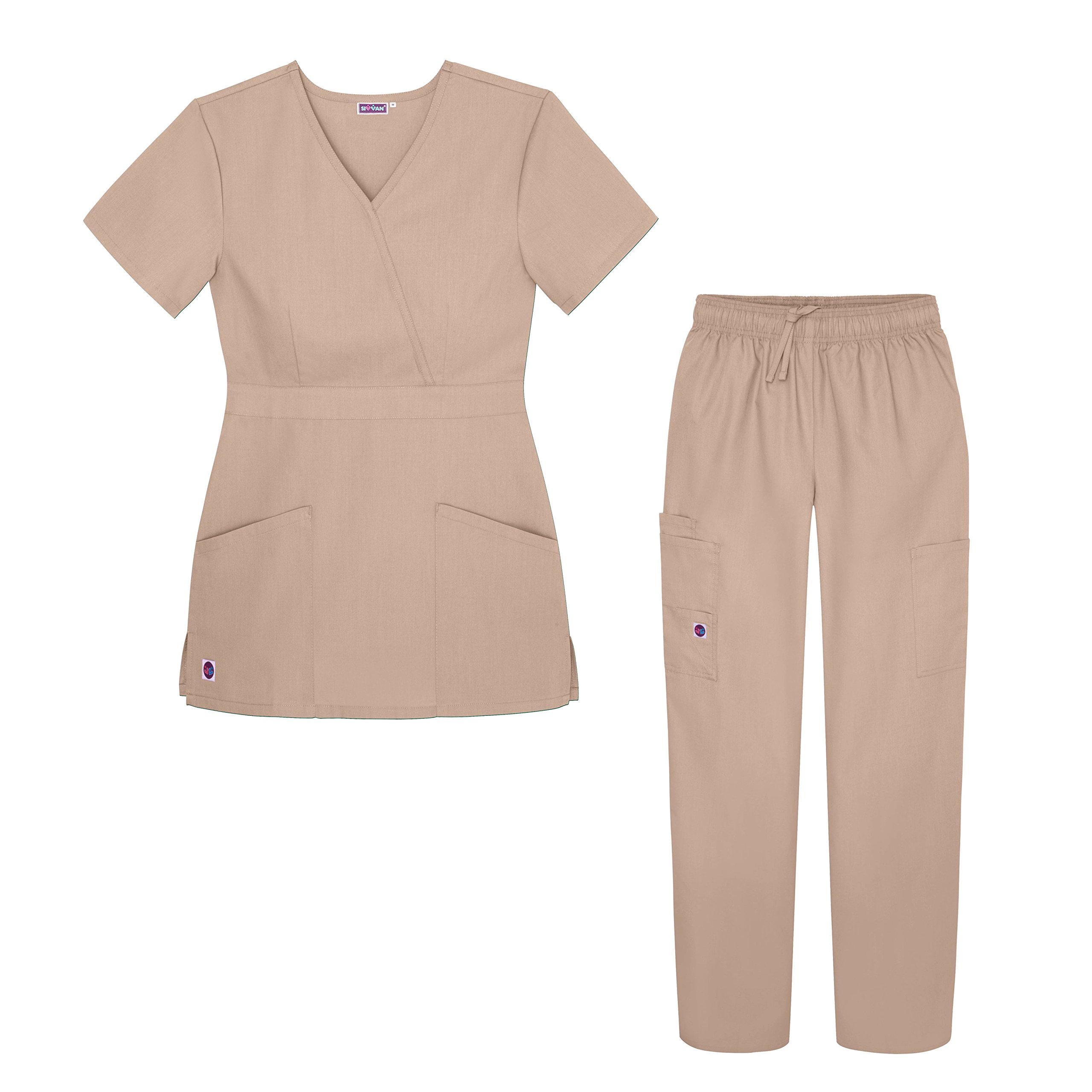 Sivvan Women's Scrub Set - Multi Pocket Cargo Pants & Stylish Mock Wrap Top - S8401 - KKI - M