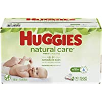 Huggies Natural Care Unscented Baby Wipes, Sensitive, 10 Flip-top Packs (560 Wipes)