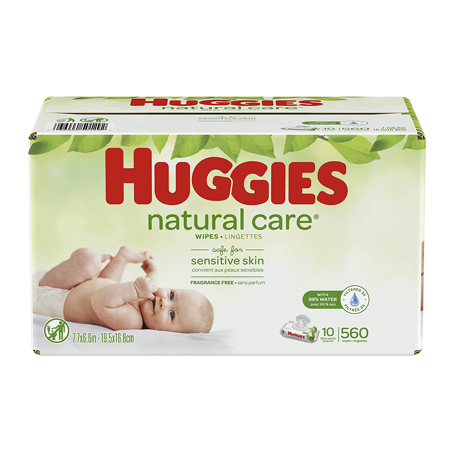 HUGGIES Natural Care Unscented Baby Wipes Flip-Top 10 Piece Set