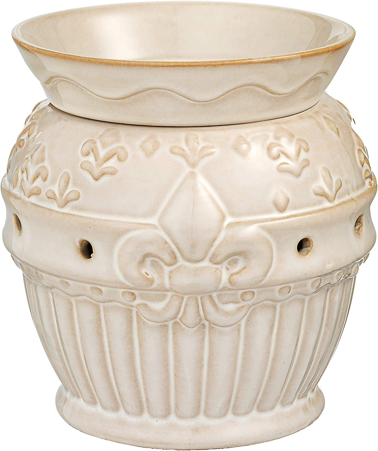 Fleur De Lis Ceramic Candle Warmer Electric with Safety Timer   Automatic Plug in Fragrance Warmer for Scented Wax Melts, Cubes, Tarts   Air Freshener Set for Home Décor, Office, and Gifts