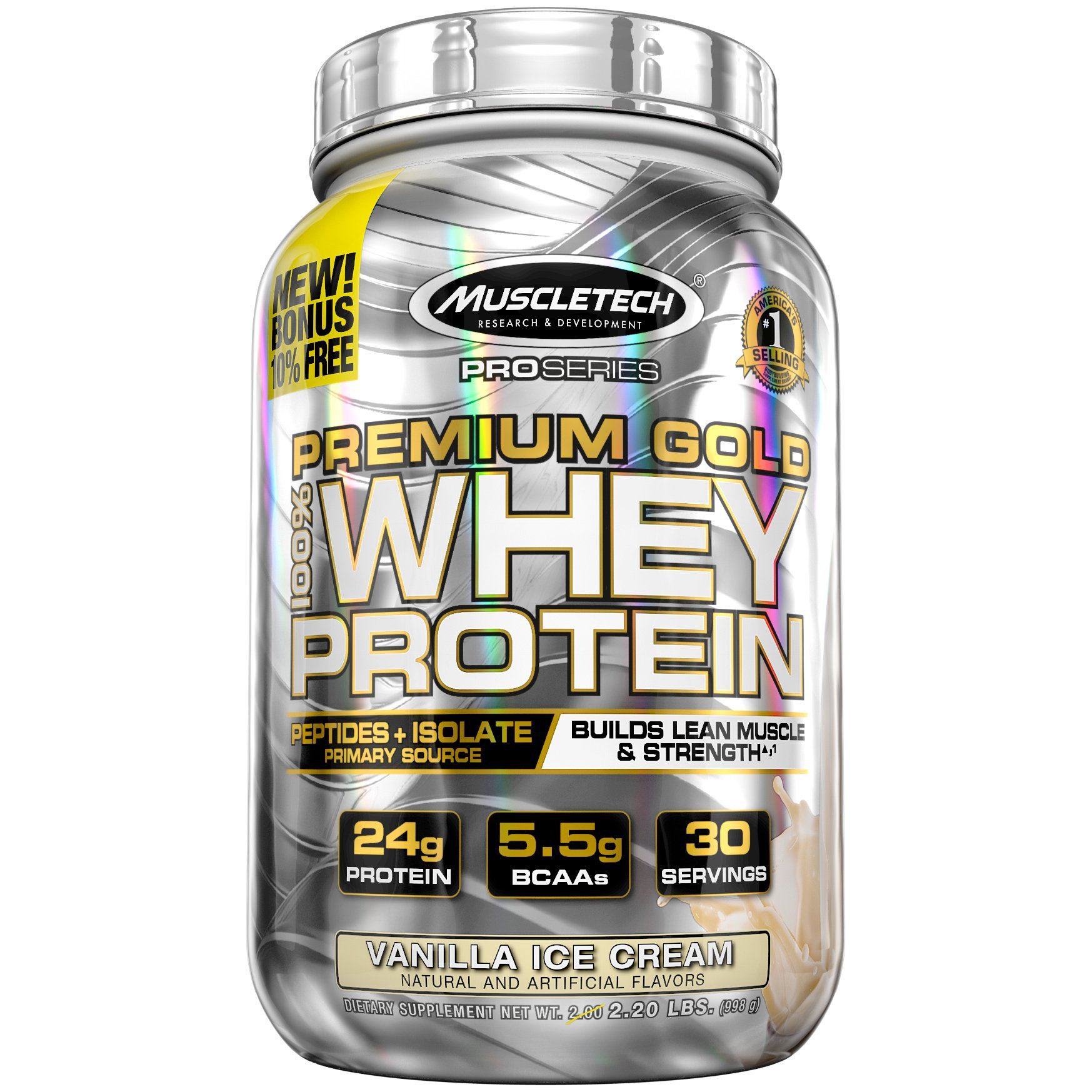 MuscleTech Premium Gold 100% Whey Protein, Premium Whey Protein Powder, Instantized and Ultra