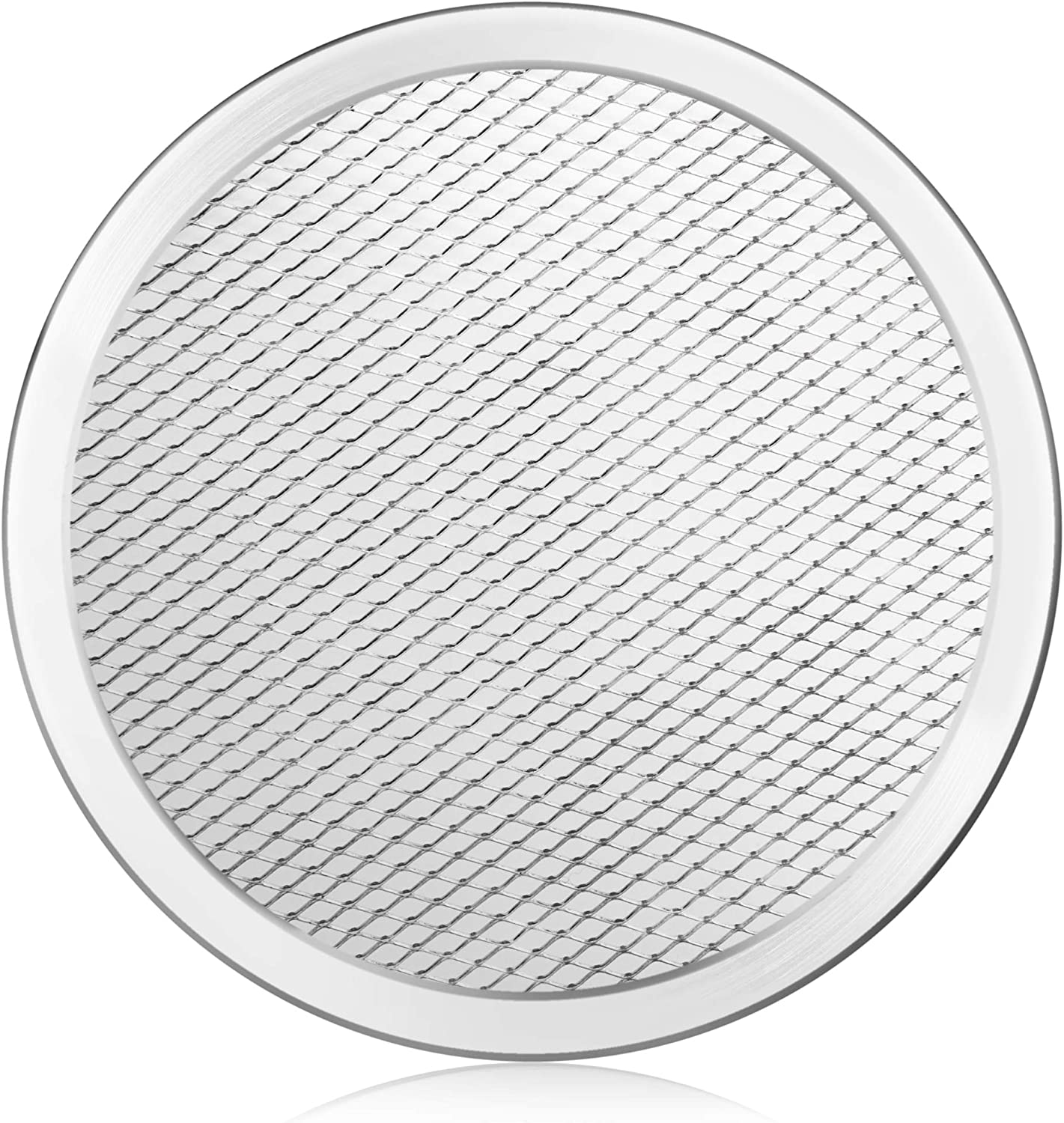 New Star Foodservice 50936 Seamless Aluminum Pizza Screen, Commercial Grade, 8-Inch, Pack of 6