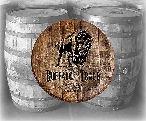Bar Decor Buffalo Trace Kentucky Bourbon Whiskey Barrel Lid Wood Wall Art