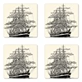 Ambesonne Pirate Ship Coaster Set of 4, Sailing