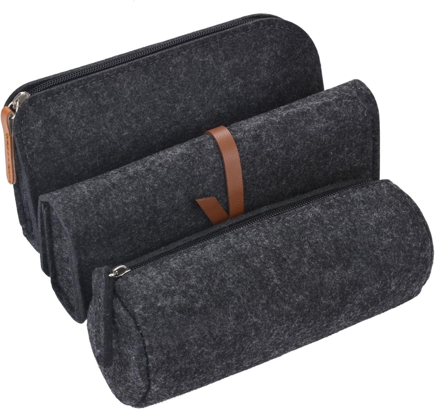 Coofit Estuche, 3 Pack Pen Case Lápiz Soporte Gris Oscuro Bolsa de cosméticos: Amazon.es: Oficina y papelería