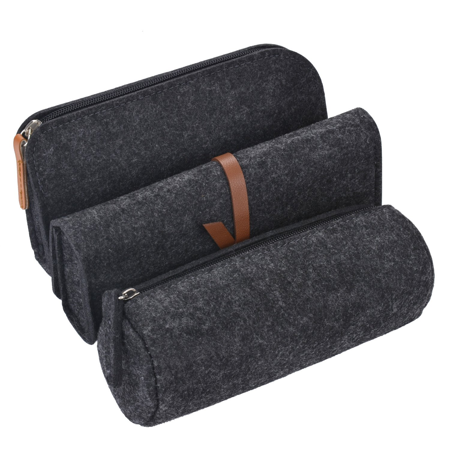 Pencil Case, Coofit 3 Pack Pen Case Pencil Holder Cosmetic Pouch Bag Dark Grey COOFIT-1