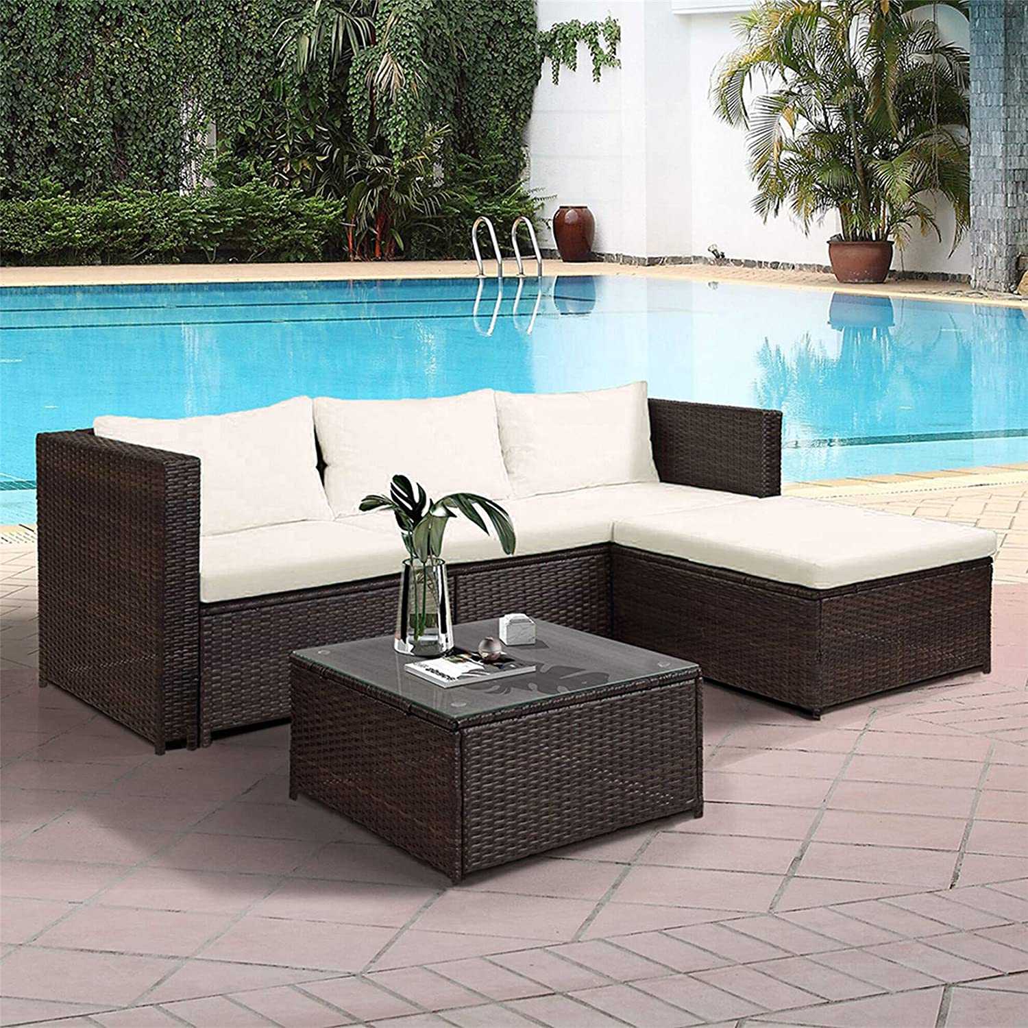 Patio Sectional Sofa Set, 5pcs Outdoor Patio Furniture Sets, PE Rattan Sectional Wicker Sofa Set with Coffee Table, All-Weather Resistant, Beige Cushion