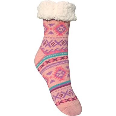 2fda50d312e7 Ladies Chunky Thermal Knitted Fluffy Fleece Lined Fairisle Slipper Socks  (Coral Pink)  Amazon.co.uk  Clothing