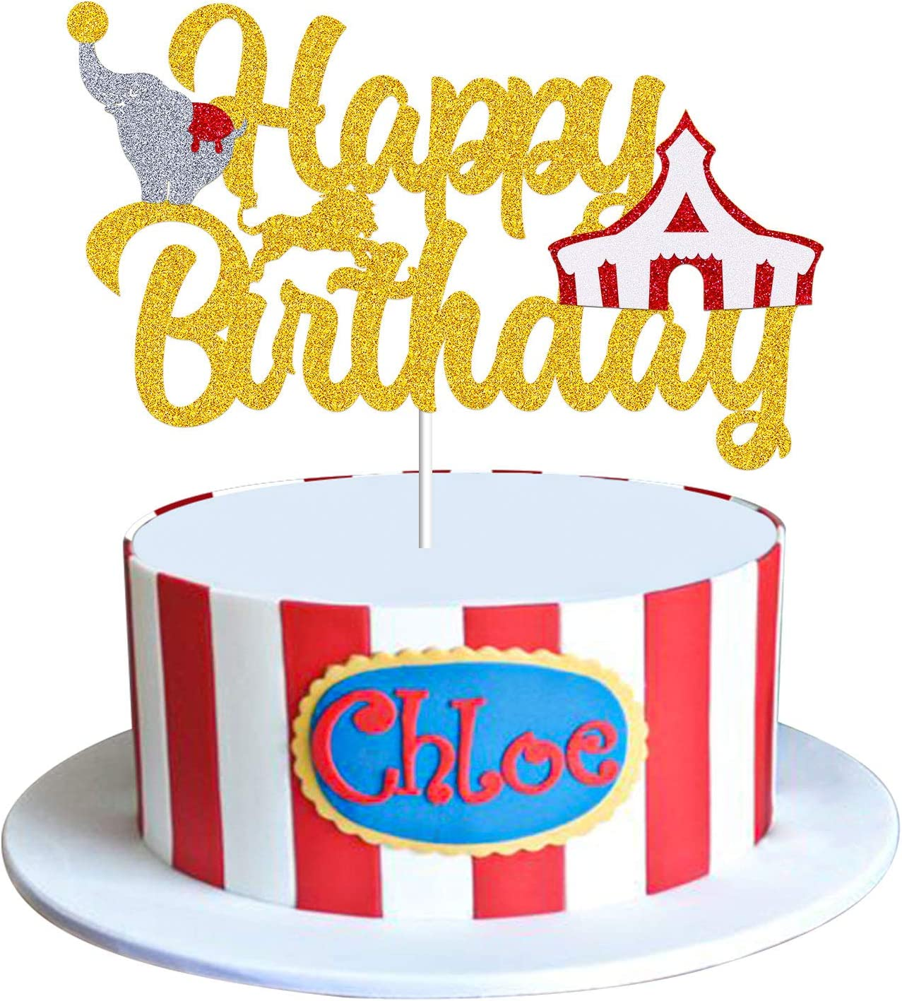 Circus Elephant Cake Topper, Circus Theme Happy Birthday Cake Decorations, Vintage Circus Tent Carnival Themed Gold Glitter Birthday Decor Supplies for Kids Baby Shower 1 st 2 nd Birthday Parties