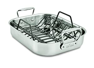 All-Clad E752S264 Stainless Steel Dishwasher Safe Small 11-Inch x 14-Inch Roaster with Nonstick Rack Cookware, 14-Inch, Silver