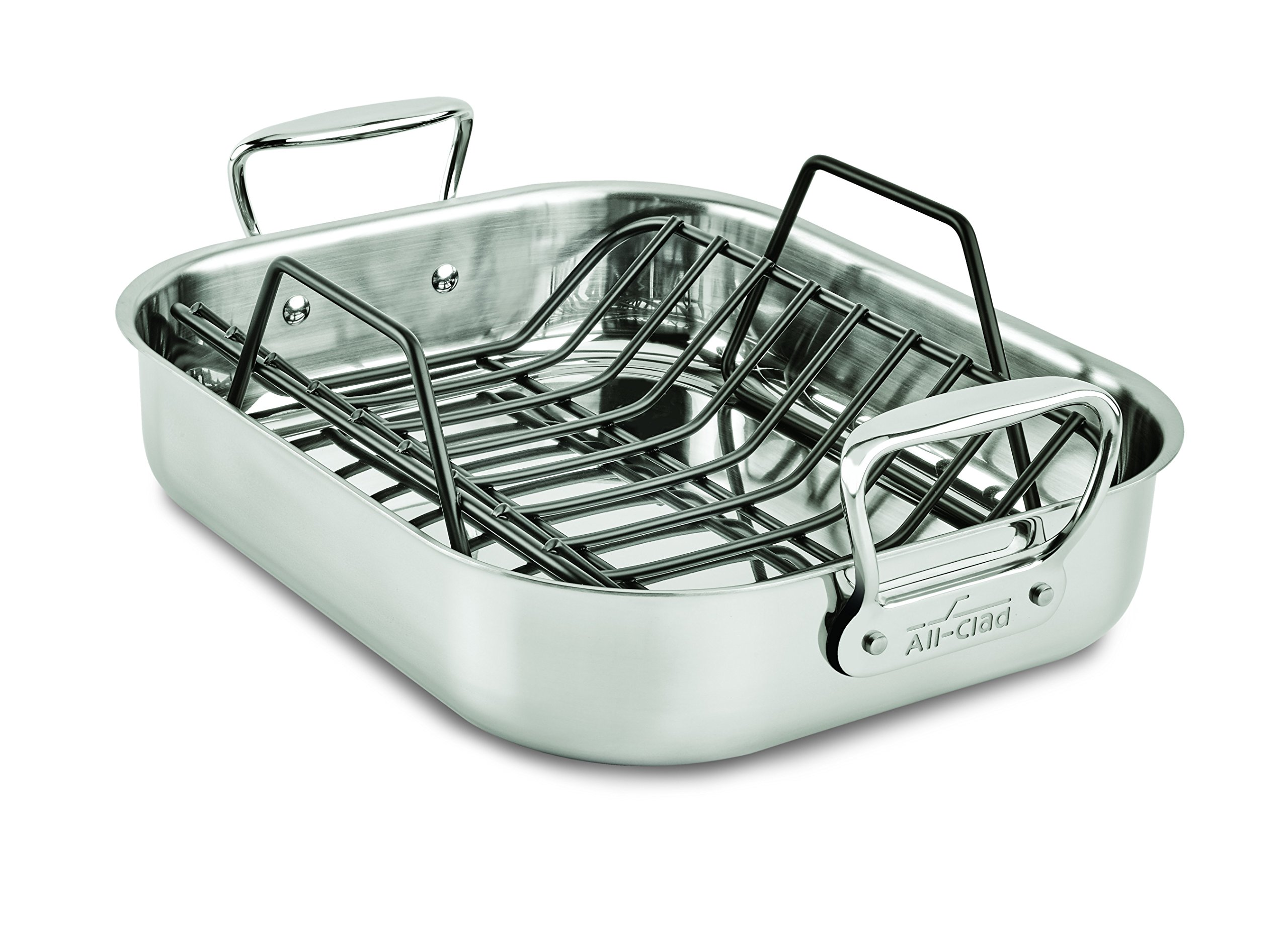 All-Clad E752S264 Stainless Steel Dishwasher Safe Small 11-Inch x 14-Inch Roaster with Nonstick Rack Cookware, 14-Inch, Silver by All-Clad (Image #1)