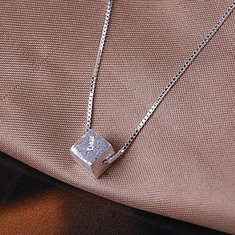 Axiba Plata de Ley 925 Cadena de Dibujo Caja Collar Plata Collar ...