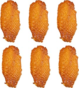 AUEAR, Fake Cooked Fried Chicken Simulation Artificial Food Model Fake Food Props Meat for Kitchen Home Party Halloween Decoration Market Food Sample Display (Chicken Wings, 6 Pack)
