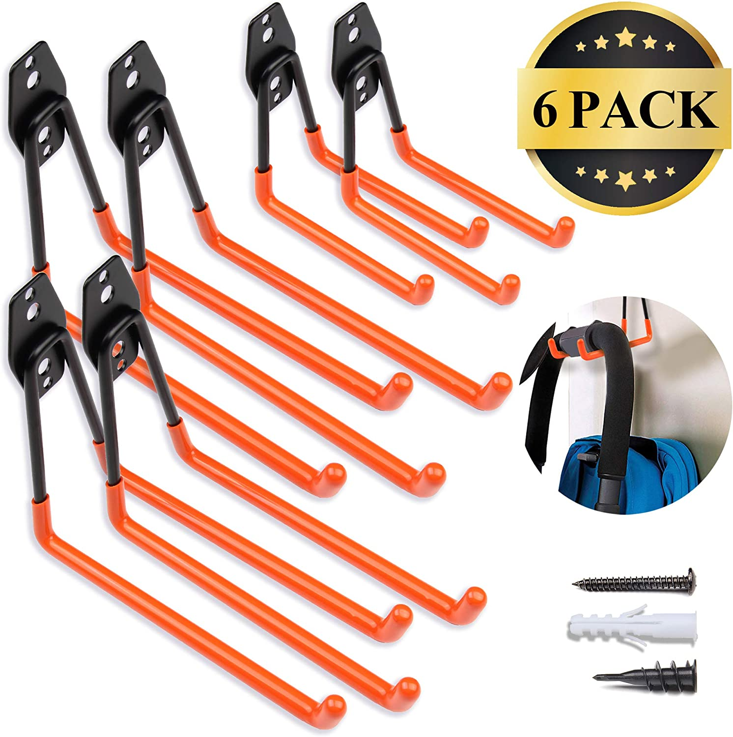 Steel Garage Storage Utility Double Hooks, Easy to Install Wall Mount Heavy Duty Hangers for Organizing Large Power Tools, Anti Slip Design Holding Ladders, Chairs, Bikes, Ropes, Bulk Items, Pack of 6