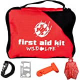 5-in-1 Vehicle First Aid Kit with Emergency Vehicle Escape Tool and BONUS Survival Items: Paracord Fire Starter Bracelet, Multi Tool, and Rain Poncho