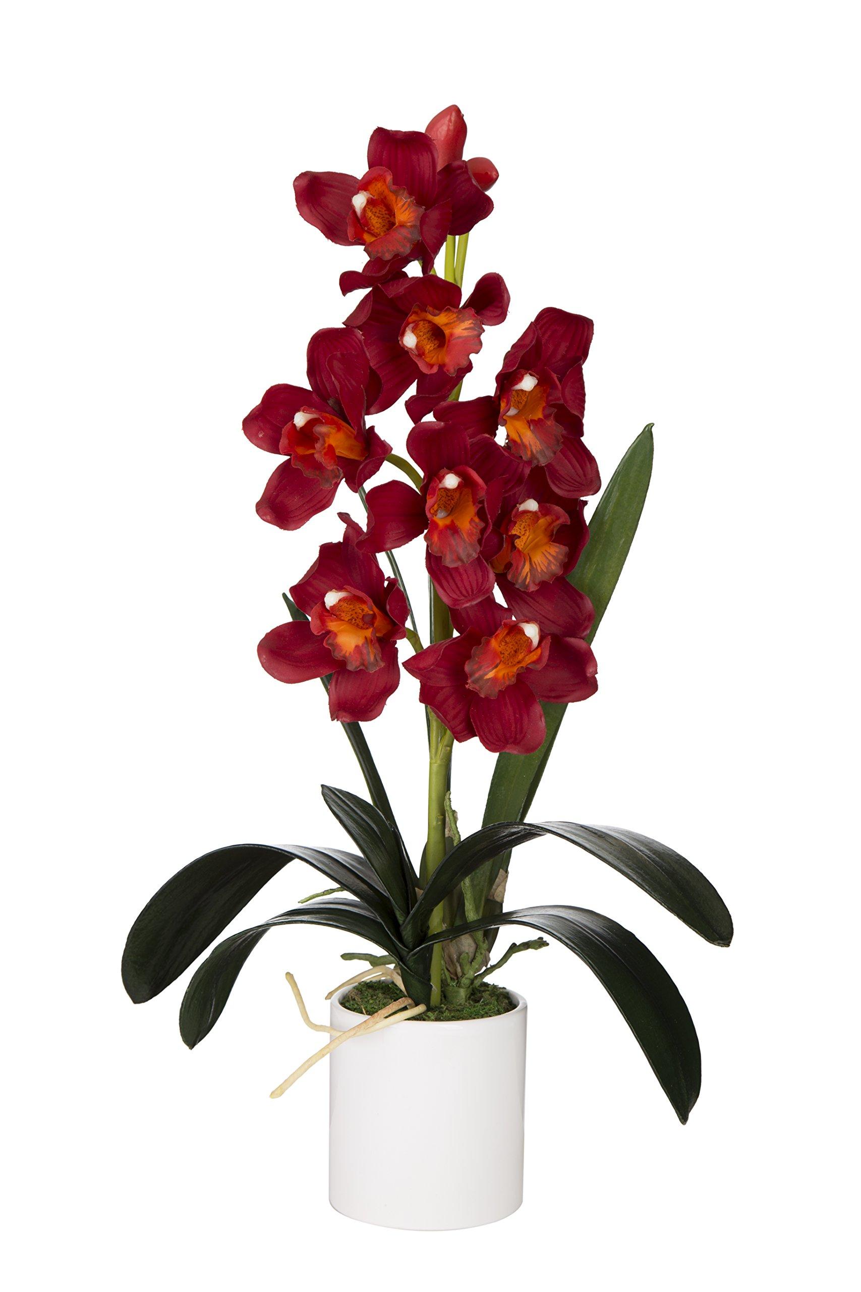 SilkenBloom Artificial Red - Rust Silk Cymbidium Stem Orchid in White Ceramic Pot