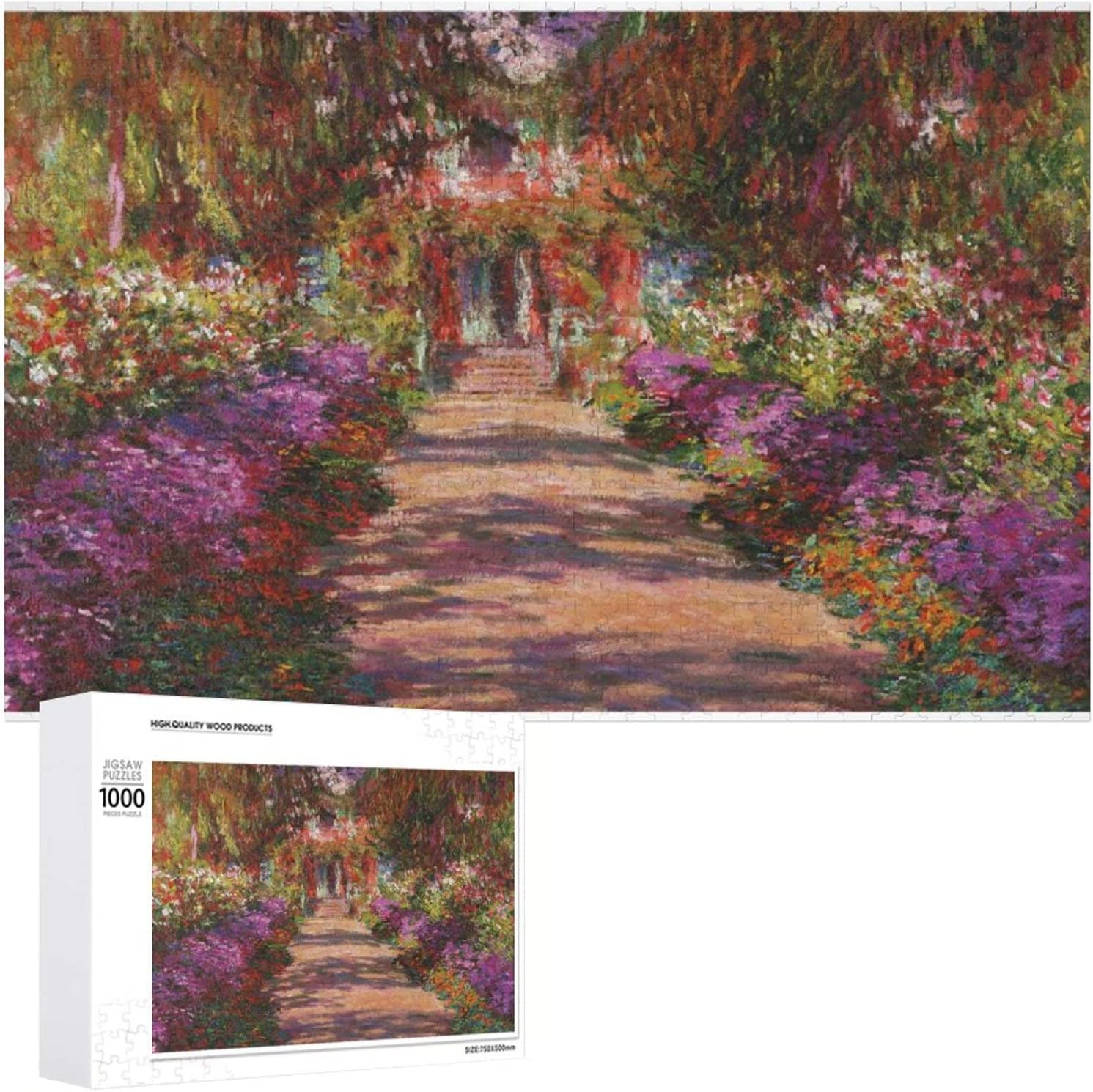 1000 PCS Wooden Puzzle - Pathway in Monets Garden Jigsaw Puzzles - Educational Fun Game for Adults and Kid - Family Decorations Pattern Toy - Wall Art Home Decor Jigsaw Puzzles